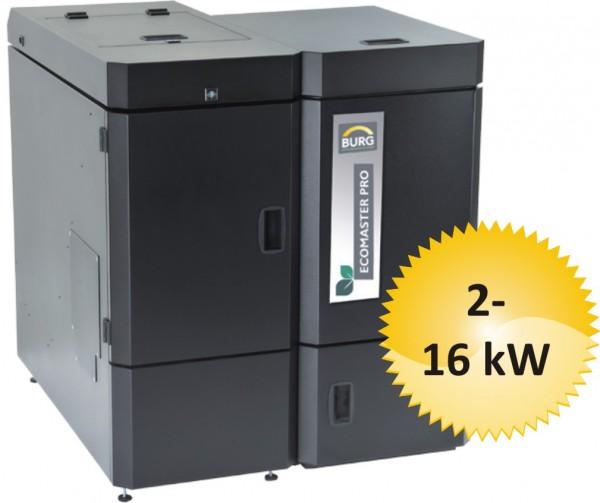 Pelletkessel BURG ECOMASTER PRO 16 automatic, Leistung 16 kW mit Kompaktbehälter